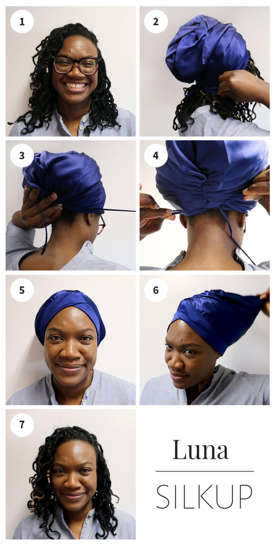 how to wear large silk hair wrap luna