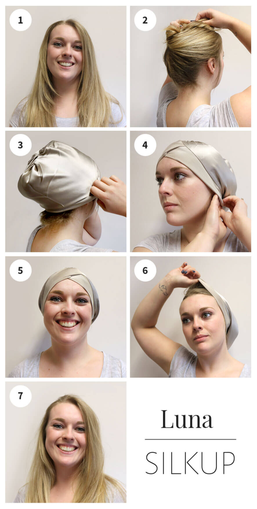 how to wear small silk hair wrap luna